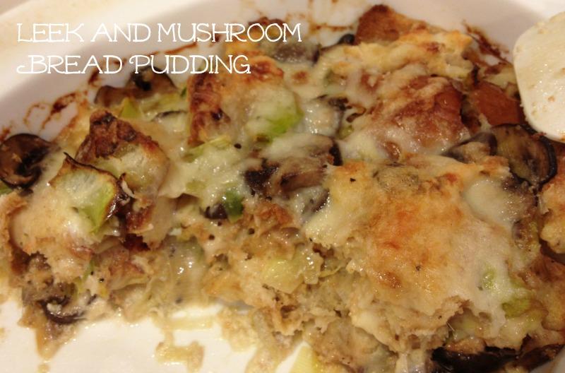 mushroom leek bread pudding